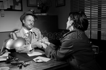 Getuige interview politie station knap detective Stockfoto © stokkete
