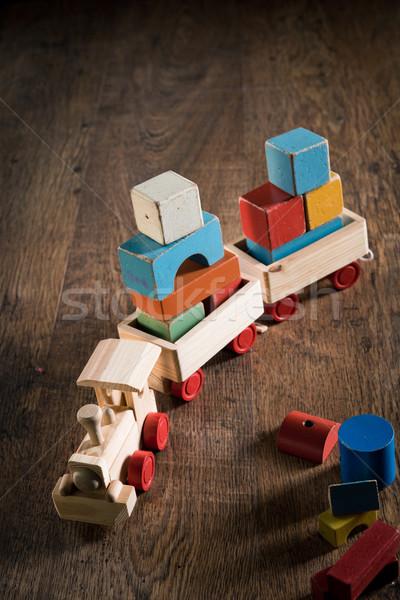 Houten speelgoed trein vintage vloer kleurrijk blokken Stockfoto © stokkete