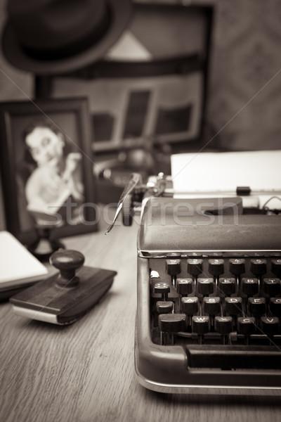 Writing a letter on vintage typewriter Stock photo © stokkete