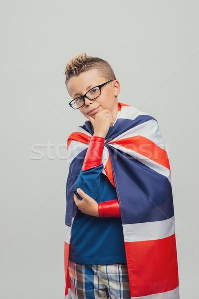 Sevimli süper kahraman el çene bakıyor kamera Stok fotoğraf © stokkete