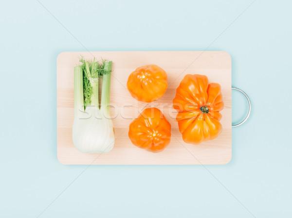 Taze organik sebze ahşap yemek hazırlama Stok fotoğraf © stokkete