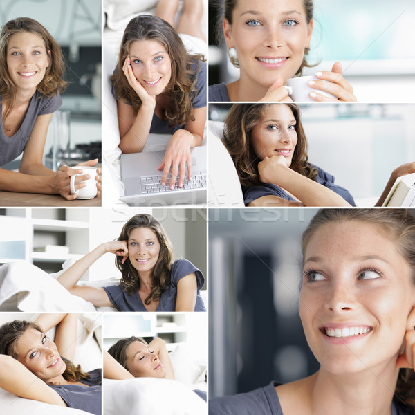 Relaxing at home collage Stock photo © stokkete