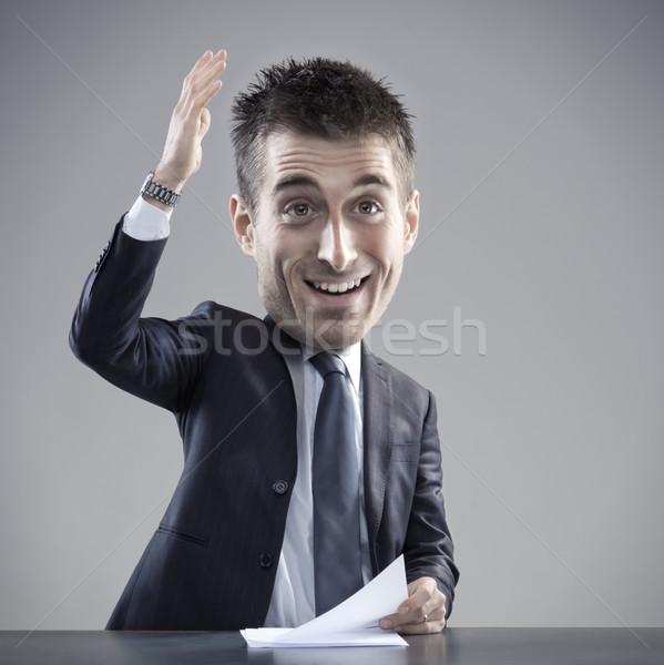Dziwaczny biznesmen mowy funny karykatura zabawy Zdjęcia stock © stokkete