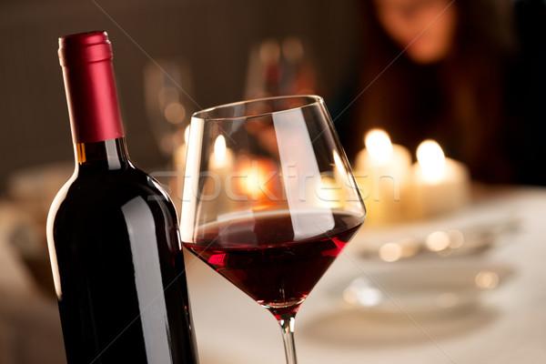 Foto stock: Cata · de · vinos · restaurante · botella · vidrio · vino · tinto · fiesta