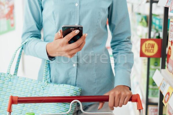 ショッピング アプリ 食料品 女性 スーパーマーケット 検索 ストックフォト © stokkete