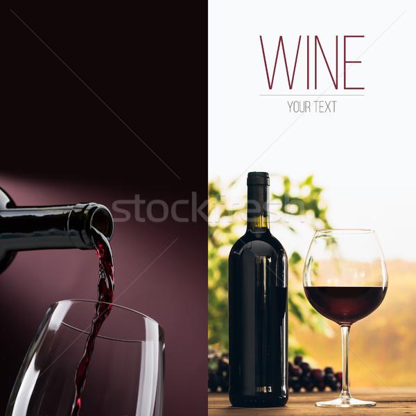 Kitűnő borkóstolás borkészítés poszter szett bor Stock fotó © stokkete