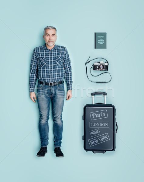 Realistic male tourist doll Stock photo © stokkete
