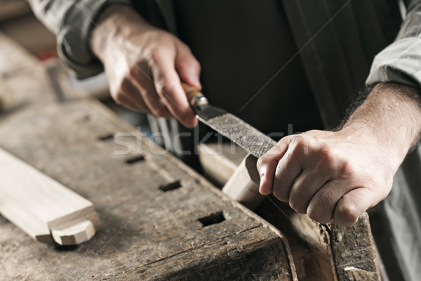 Carpenter hand's close up Stock photo © stokkete