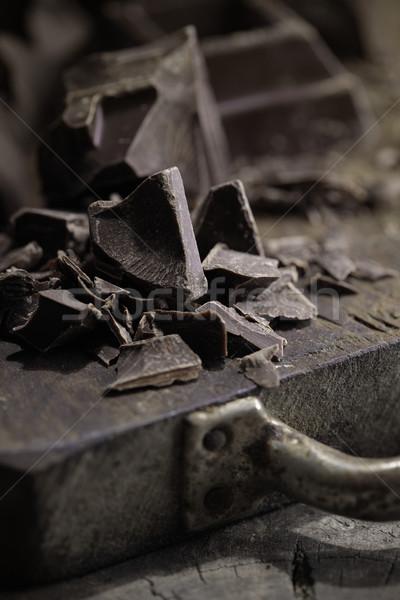 Stukken pure chocola houten Stockfoto © stokkete