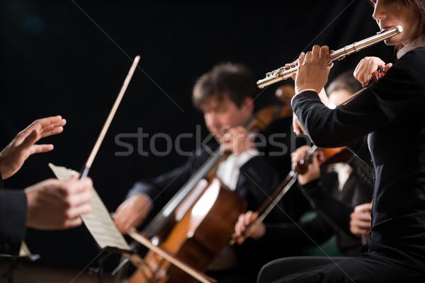 Vezető szimfónia zenekar koncert hegedű művész Stock fotó © stokkete