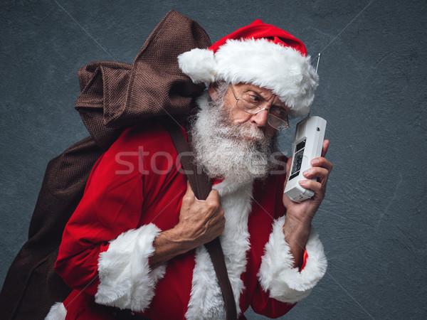 Santa Claus on the phone Stock photo © stokkete