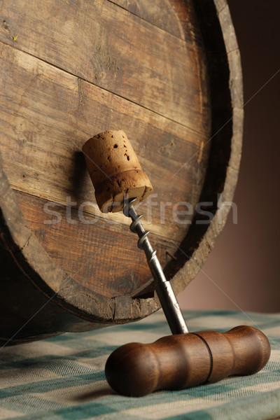 Photo stock: Tire-bouchon · bois · baril