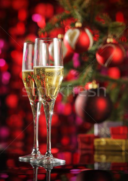 Zdjęcia stock: Uroczystości · szampana · okulary · christmas · dekoracje · strony