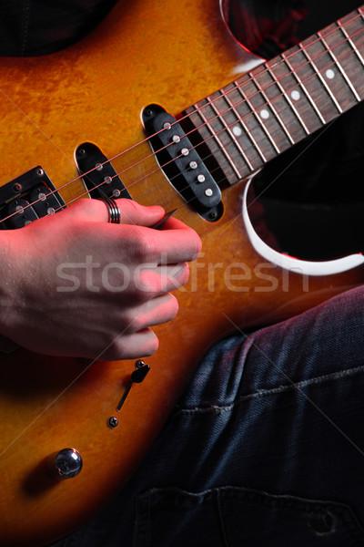 Stock fotó: Gitáros · közelkép · gitár · fény · színpad · hang
