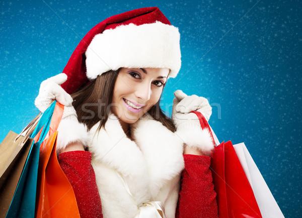 Mooie vrouw christmas winkelen jonge geschenken vrouw Stockfoto © stokkete
