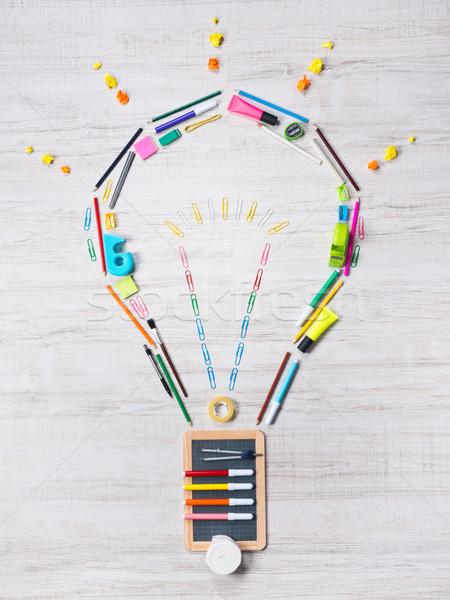 Creatieve gloeilamp kleurrijk schrijfbehoeften school objecten Stockfoto © stokkete