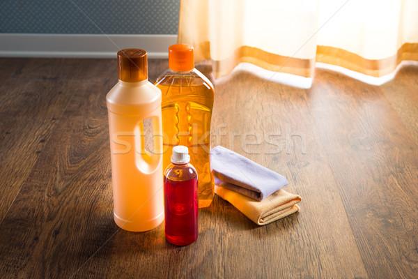 Keményfa padló mosószer termékek törődés fa olaj Stock fotó © stokkete