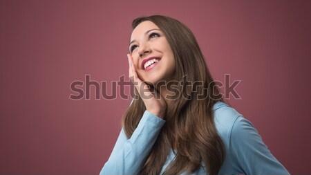若い女性 空想 小さな 美しい 笑顔の女性 手 ストックフォト © stokkete