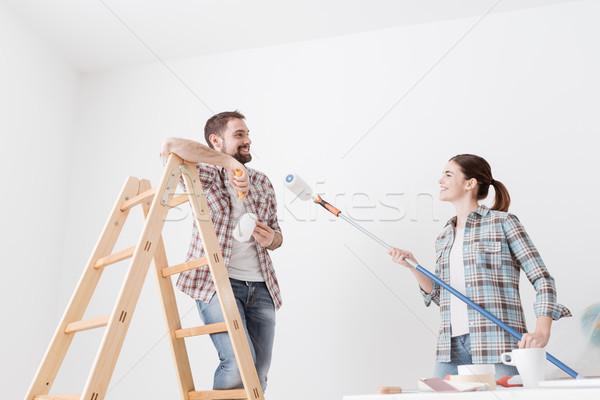 ストックフォト: カップル · 絵画 · 壁 · 幸せ