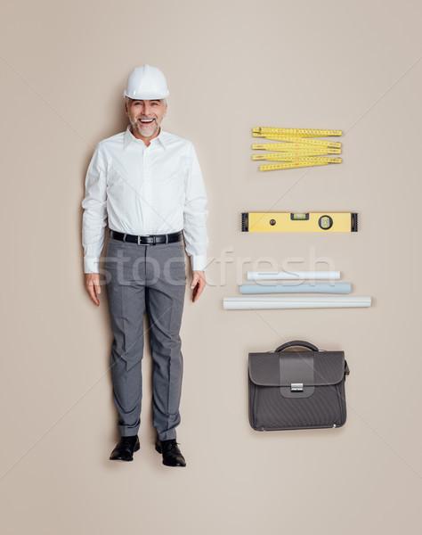 エンジニア 建築 男性 人形 作業 ストックフォト © stokkete