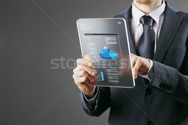 Empresario digital tableta financieros negocios ordenador Foto stock © stokkete
