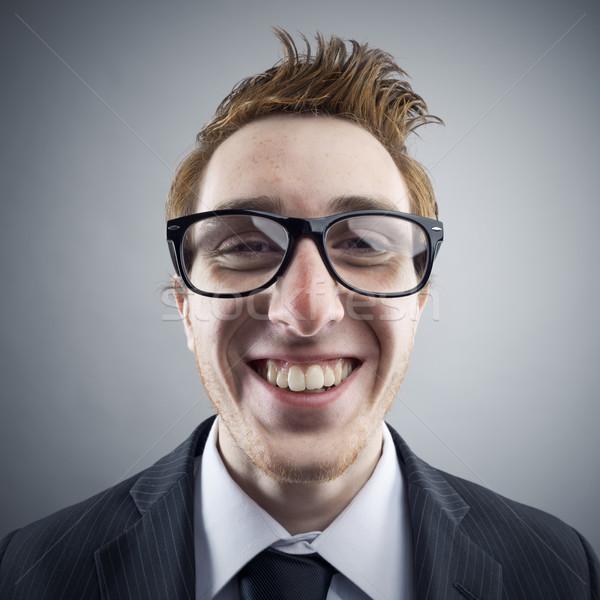 オタク 肖像 小さな ビジネスマン 笑みを浮かべて ストックフォト © stokkete