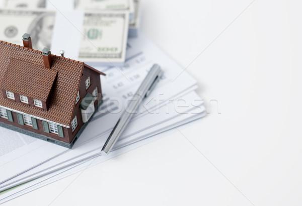 Ingatlan lakáshitel modell ház számológép pénz Stock fotó © stokkete