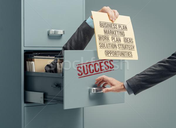 Bem sucedido estratégia de negócios empresário dentro arquivo Foto stock © stokkete