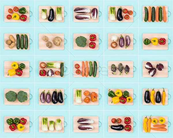 Saine légumes assortiment ensemble fraîches bois Photo stock © stokkete