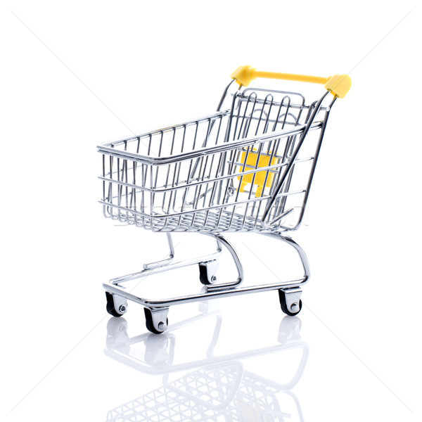 Miniatűr bevásárlókocsi fehér áruház élelmiszer vásárlás Stock fotó © stokkete