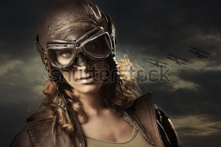 Woman aviator: fashion model portrait Stock photo © stokkete