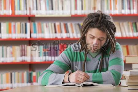 Twee studenten bibliotheek student onderwijs schrijven Stockfoto © stokkete