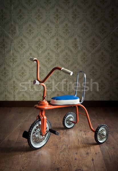 Bağbozumu renkli üç tekerlekli bisiklet turuncu Stok fotoğraf © stokkete