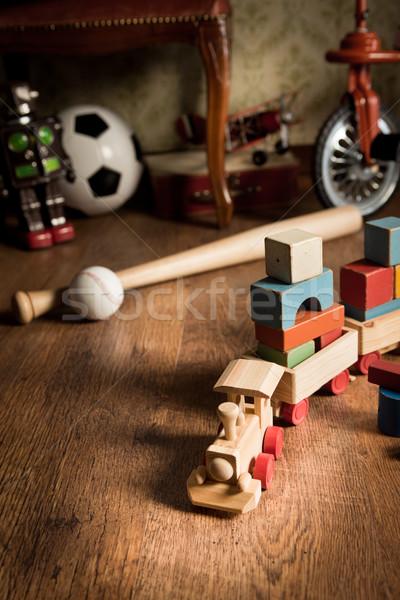 Wooden train in children's room Stock photo © stokkete