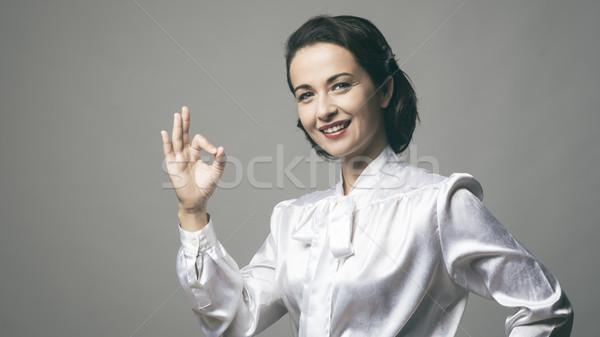 ストックフォト: ヴィンテージ · 女性 · にログイン · 魅力的な · 笑みを浮かべて