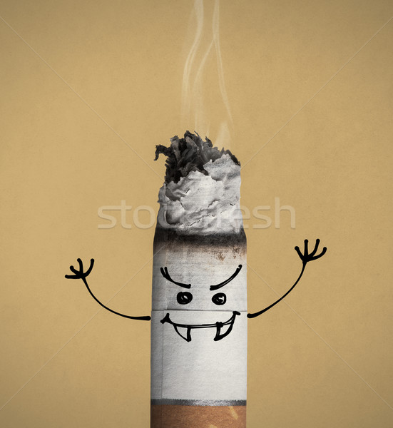 Burning cigarette and funny character Stock photo © stokkete