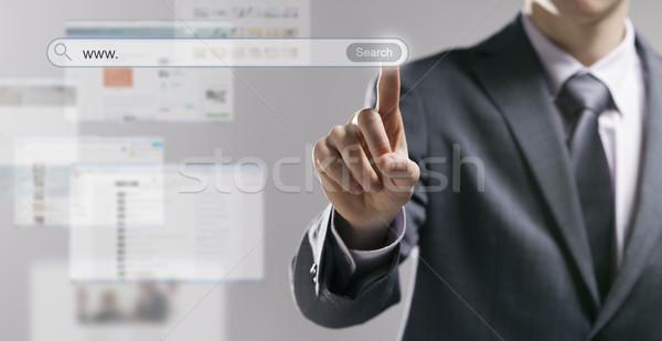 бизнесмен поисковая поиск кнопки веб Сток-фото © stokkete