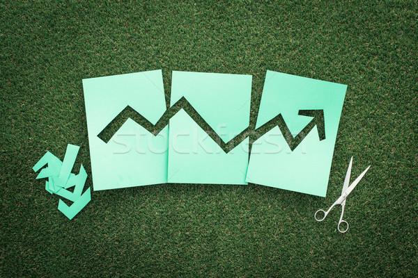 Zielone finansowych wykres udany arrow w górę Zdjęcia stock © stokkete