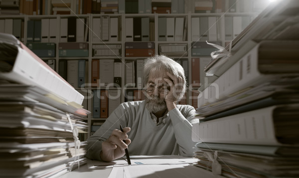 Senior businessman working in the office Stock photo © stokkete