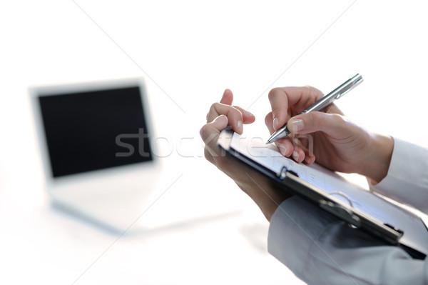 Foto d'archivio: Donna · d'affari · prendere · appunti · laptop
