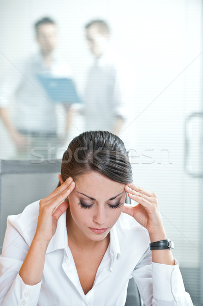 Stock photo: Exhausted businesswoman