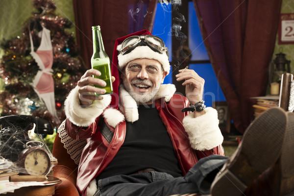 Vidám karácsony derűs rossz mikulás ünnepel Stock fotó © stokkete