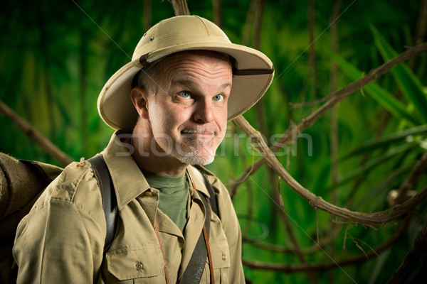 Funny explorer in the forest Stock photo © stokkete
