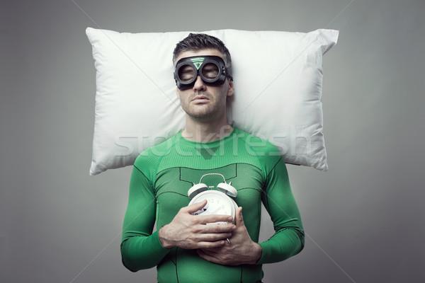 Szuperhős alszik párna lebeg levegő tart Stock fotó © stokkete