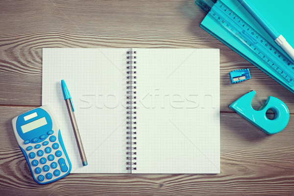 Open notebook with colorful stationery Stock photo © stokkete