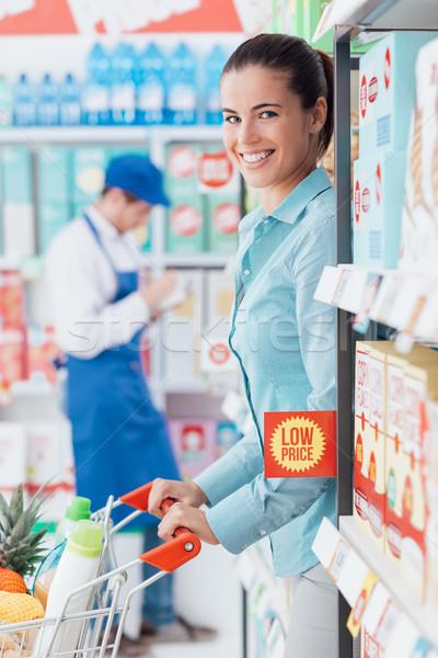 食料品 ショッピング ストア 幸せ 若い女性 プッシング ストックフォト © stokkete