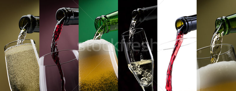 Pouring alcoholic drinks in glasses photo collage Stock photo © stokkete