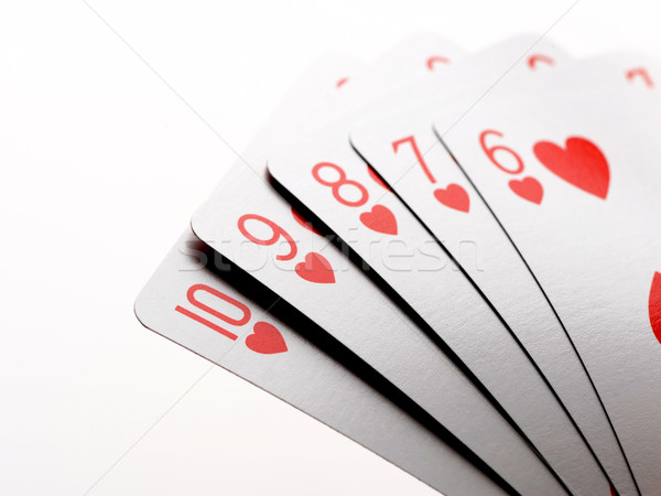 poker straight flush of hearts Stock photo © stokkete