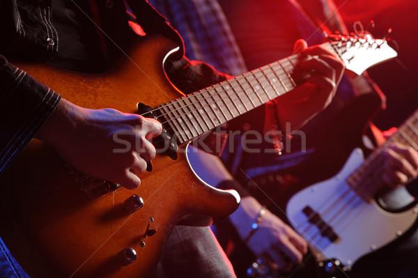 Stock fotó: élet · kő · zenészek · játszik · koncert · zene