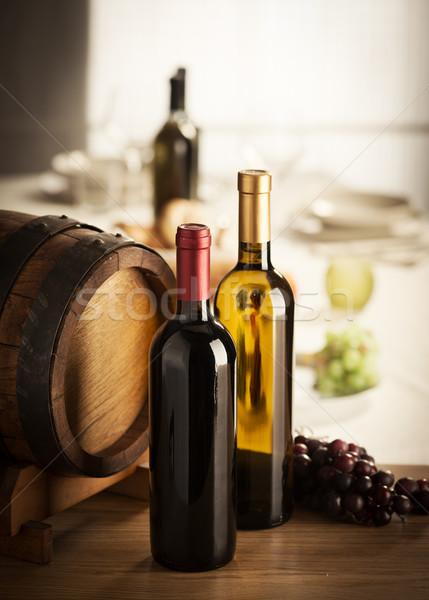 Bor hordó szőlő piros fehérbor étterem Stock fotó © stokkete